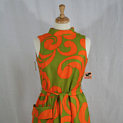 Vintage 1960's Psychedelic Shift Day Dress w/original tags