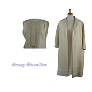 1960's Vintage Cream Coat and Shift Dress   OOAK   2 Piece