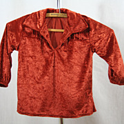 Authentic Vintage Navajo Child's Traditional Crushed Velvet Shirt