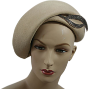 1940's Tilt Ivory Felted Wool Hat  ~ Martin's NY