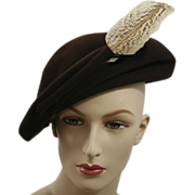 1940's Vintage Brown Felted Wool Tilt Hat