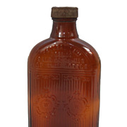 Vintage c.1930 Hiram Walker and Sons LTD Amber Whiskey Bottle with Bakelite Cap