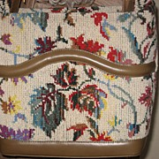 1960's Tapestry carpet bucket purse handbag
