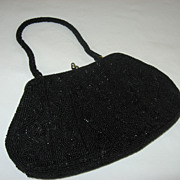 Vintage 1950's Black Beaded Evening Cocktail Purse Bag