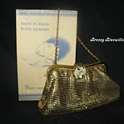 Vintage Whiting and Davis Mesh Evening Bag  Rhinestone clasp w/box