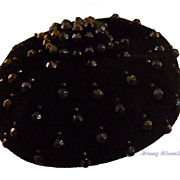 Vintage Jet Black Felt Studded Evening Toque