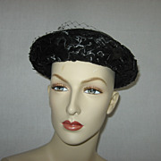 Vintage Ladies Black Woven Cello Breton Hat