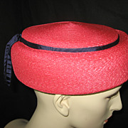 Vintage Red and Navy woven straw pillbox hat