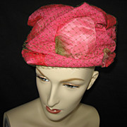 Vintage Ruched Rose Pink Ladies Hat with veil