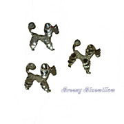 Vintage set-of-3 Poodle scatter pins