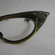 Vintage 1950's Iridescent Black & Gold Cat Eye Glasses - France