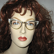 1950's Rockabilly Metal & Lucite Cat Eye Glasses w/case