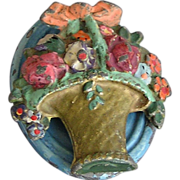 Vintage Cast Iron Floral Painted Door Knocker