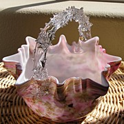Vintage Czech End of Day / Confetti Glass Basket - Pinks