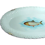 SALE Austrian Ornate Gilded 18 In. Fish Platter - Porcelain by Bawo & Dotter, c.1898