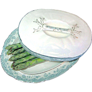 SALE Rare Staffordshire Covered Asparagus Boote' - Platter by John Maddock & Sons, c.1880