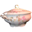 Limoges Pink Wildflowers Soup or Oyster Tureen - by Wm. Guerin, c.1900
