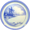 Limoges c.1898  Porcelain Teapot Trivet - Blue & White Windmill Scene by Tressemann & Vogt