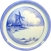 SALE Limoges c.1898  Porcelain Teapot Trivet - Blue & White Windmill Scene by Tressemann & Vog