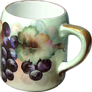SALE German Porcelain Mug - Dark Purple Grape Design, c. 1900