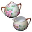 c.1899-1918 Austrian Porcelain Creamer & Sugar Bowl - Hand Painted Apple Blossoms