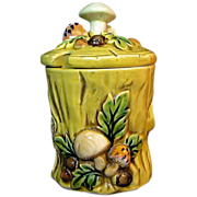 SALE Geo. Z. Lefton's Mushroom Forest Jam Jar or Pot - c.1970