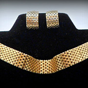 Vintage KREISLER Signed Gilt Mesh Choker Necklace & Earrings