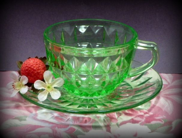 Vintage Green Windsor Diamond Cup & Saucer Jeannette Glass Depression Glass