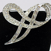 Vintage Clear Rhinestone Bow Pin Brooch Rhodium