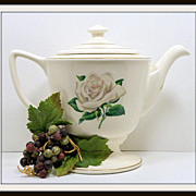SALE Vintage Homer Laughlin Eggshell Georgian Magnolia Teapot 1953