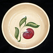 Original WATT Pottery Apple Salad Bowl #73 Oven Ware Green Band
