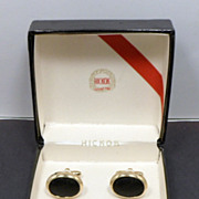 SALE Last Chance  Vintage HICKOK Black Gold Oval Cufflinks & Tie Clip Original Box USA Cuff Li