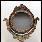 SALE Victorian Ornate Table Vanity Dresser Mirror Cast Iron Painted Dragon