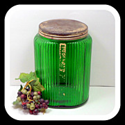 Owens Illinois Green Ovoid Glass Canister 1930s Depression Glass