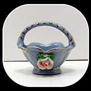 Vintage Miniature Porcelain Basket Blue Gold Japan