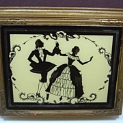 SALE Vintage Silhouette Mirrored Cosmetic Box Wooden Keepsake Box