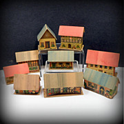 Vintage Putz Village Houses Hand Painted x 9 Germany Putz 1920s Erzgebirge