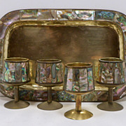 Taxco Abalone and Brass Cordial Set Tray Cups Mexico 5 Pc