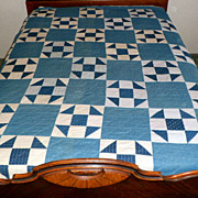 SALE Antique Blue & White Quilt Hand Stitched Belle Minnesota 83 x 72