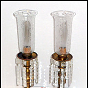 SALE Vintage Matched Pair Gilt Brass Hurricane Lamps Fancy Cut Prisms Electric Lamp