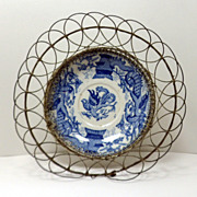 SALE Antique Blue Dragon Transferware Wire Basket Bowl 19th Century