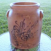 SALE Whites Utica New York 2 Gallon Stoneware Crock with Flower C 1800s