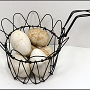 SALE Vintage Folding Wire Egg Basket & Eggs Primitive Kitchenware