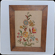 SALE Vintage Framed Floral Embroidery on Linen Hand Work