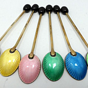 SALE English Guilloche Enamel Demitasse Spoons Cased Set 6