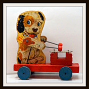 Vintage Fisher Price Wooden Pull Toy Merry Mutt 1949-1955