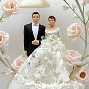 SOLD Vintage Chalk Wedding Cake Topper Bride Groom C 1940s Sugar Bell Flowers
