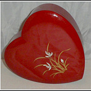 SALE Vintage Lacquered Heart Trinket Box Hand Painted C 1950s Lacquerware