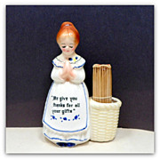 ENESCO Blue Prayer Lady Toothpick Holder Original Toothpicks Japan