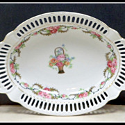 Vintage German Porcelain Ribbon Tray Pink Roses Soap Dish